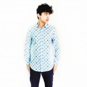 Picture of model wearing Kamisori shear shirt